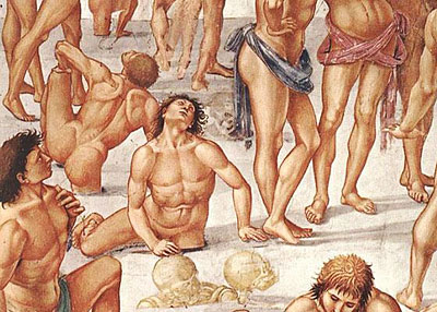 Luca Signorelli, The Resurrection of the Flesh. Detail. 1499-1502. Fresco, Chapel of San Brizio, Duomo di Orvieto.