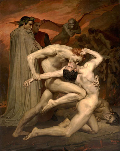 Dante y Virgilio en el infierno de William Bouguereau, 1850. Museo D'Orsay